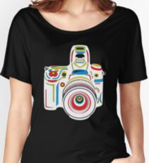 Rainbow Camera Black Background Women's Relaxed Fit T-Shirt