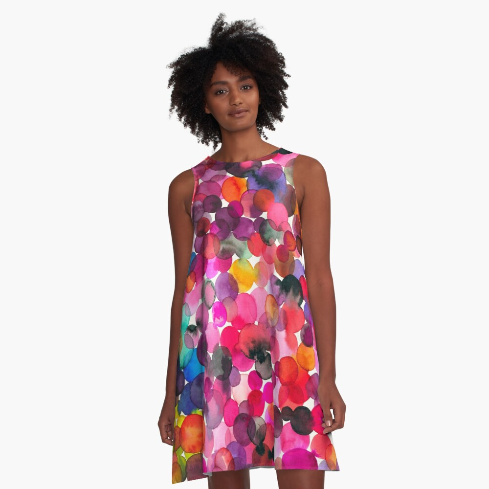 Watercolor dots A-Line Dress