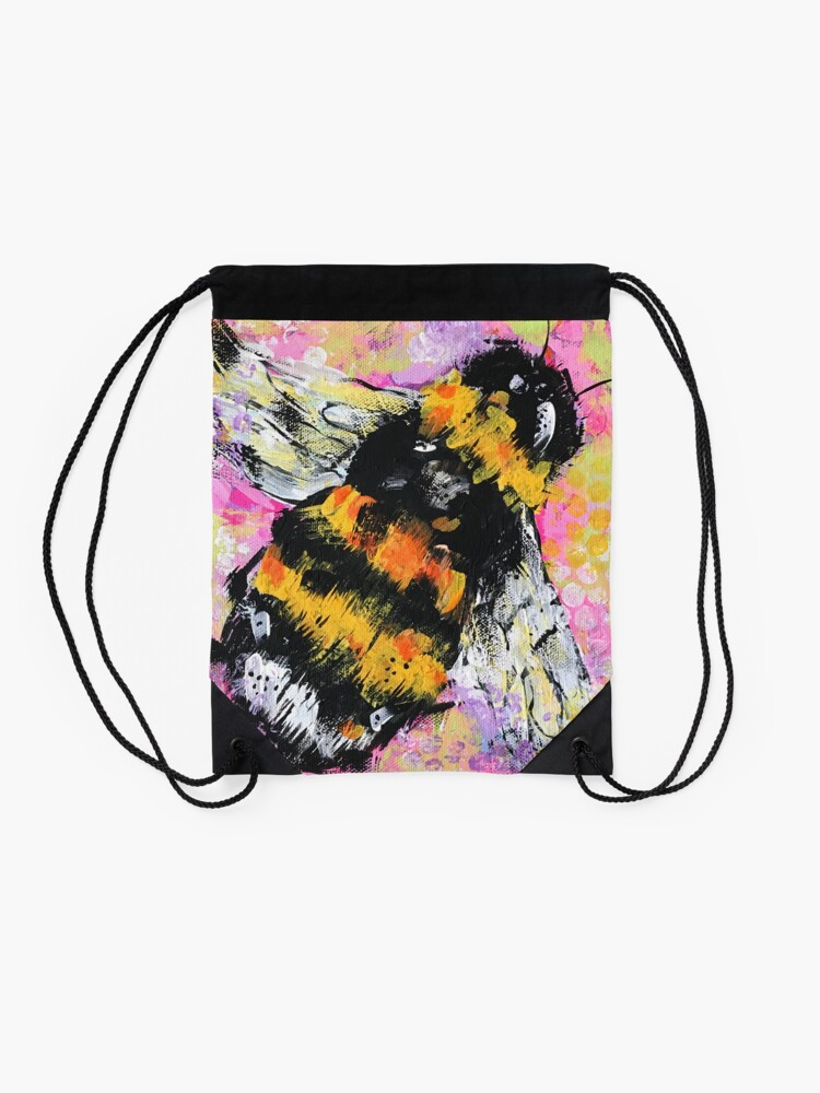 Alternate view of Abstract Happy Bumble Bee Drawstring Bag