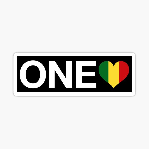 One Love Heart Rasta   Rasta Jamaica Weed Sticker