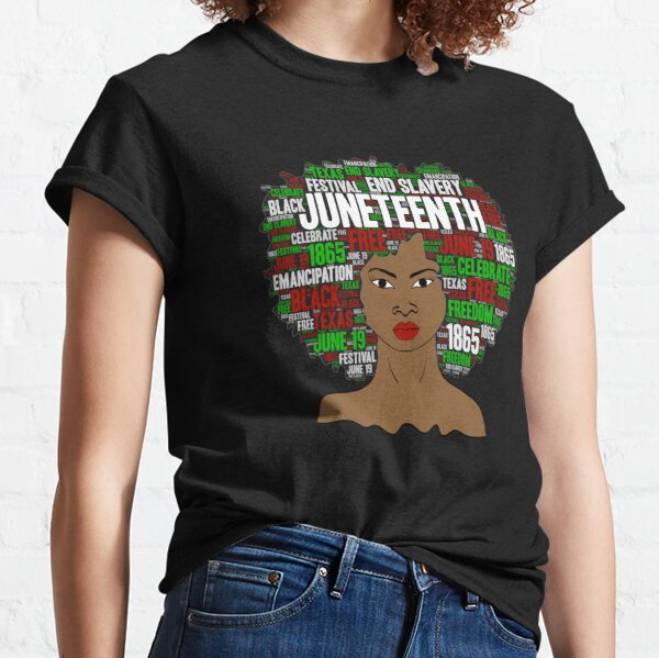 Womens Happy Juneteenth Day Chain T-Shirt Short Sleeve Crew Neck Cable Casual Top