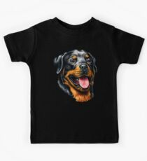 Rottweiler Full Face Portrait Kids Tee