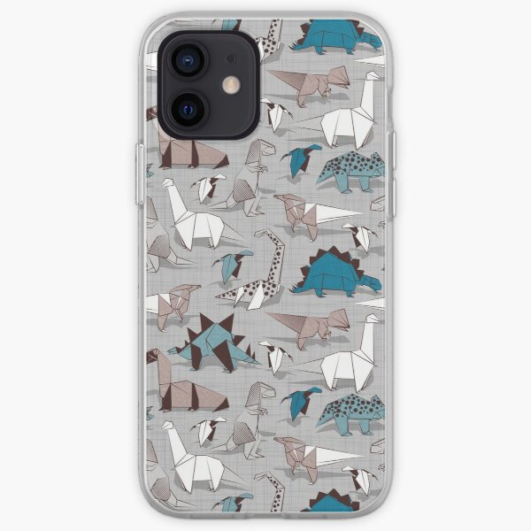 Origami dino friends // grey linen texture background blue white and beige dinosaurs   iPhone Soft Case