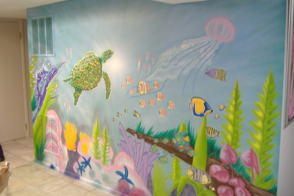 UNDER SEA WALL MURAL WITH TURTLE Part 34