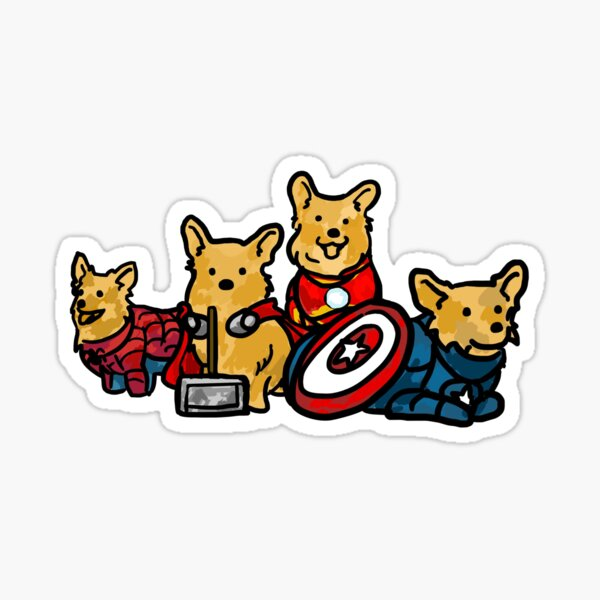 Corgs Assemble Sticker