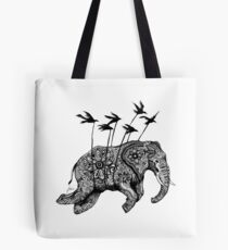 The Flying Henna Elephant Tote Bag