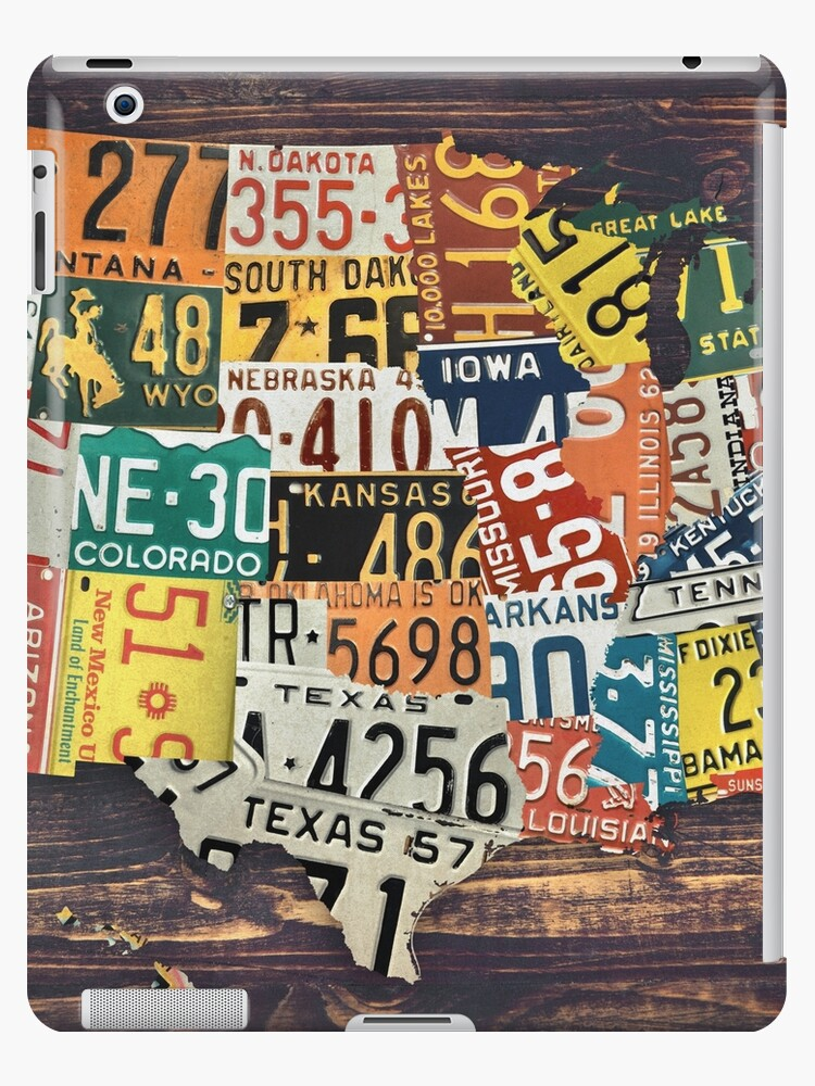 'License Plate Map Of The United States' iPad Case/Skin by innasoyturk