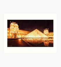 """Les Lumieres du Louvre"" Watercolor Art Print"