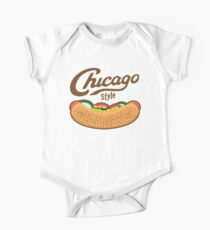 Chicago Style Hot Dog  Short Sleeve Baby One-Piece