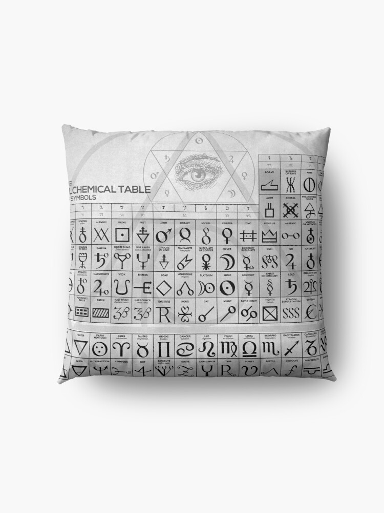 Alternative Ansicht von Die alchemistische Tabelle der Symbole Bodenkissen