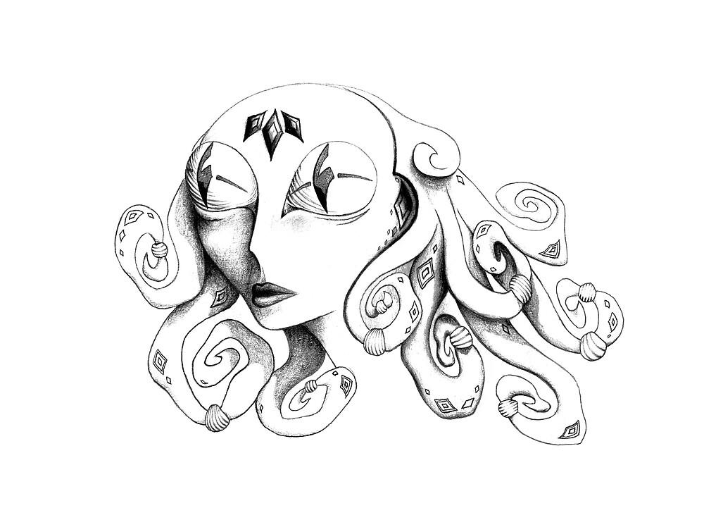 Alien Drawing by Yvette Bell