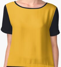 Buffalo Ice Hockey Team Bright Yellow Solid Mix and Match Colors Chiffon Top cf74d6f48