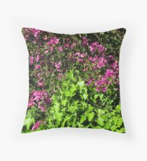 Purple Flowers on Green Bush Throw Pillow