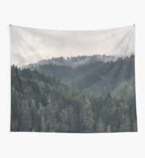 PNW Foggy Forest Mountain Majesty Wall Tapestry