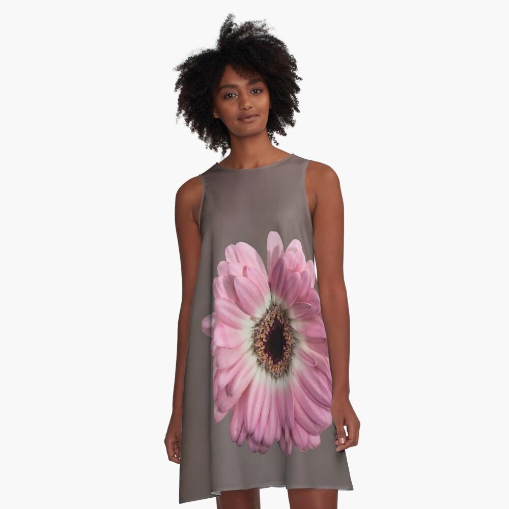 Single pink Gerbera Flower A-Line Dress