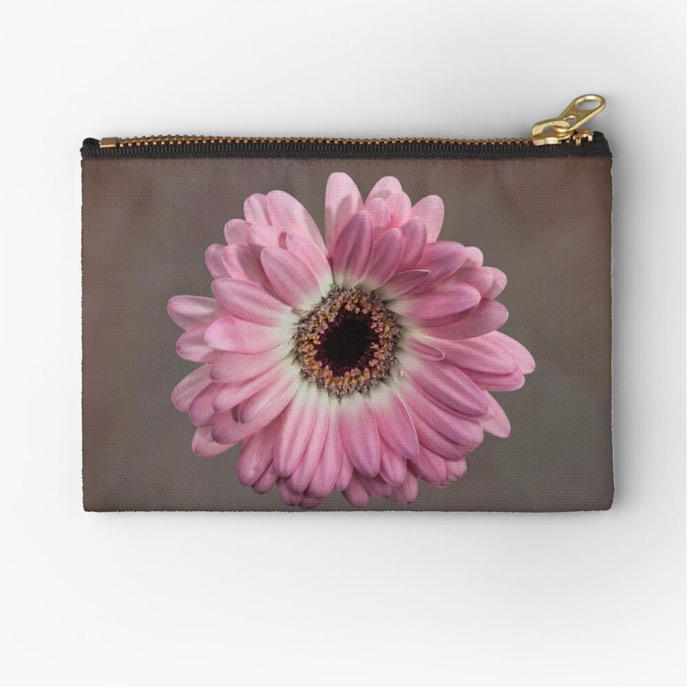 Single pink Gerbera Flower Zipper Pouch