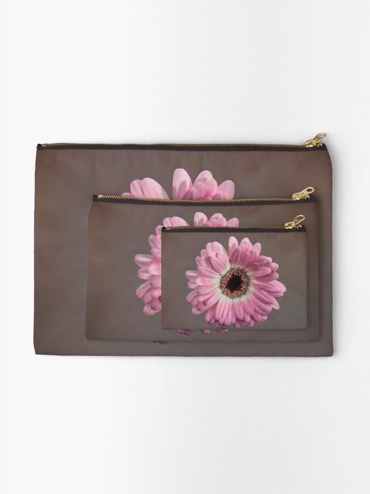 Alternate view of Single pink Gerbera Flower Zipper Pouch