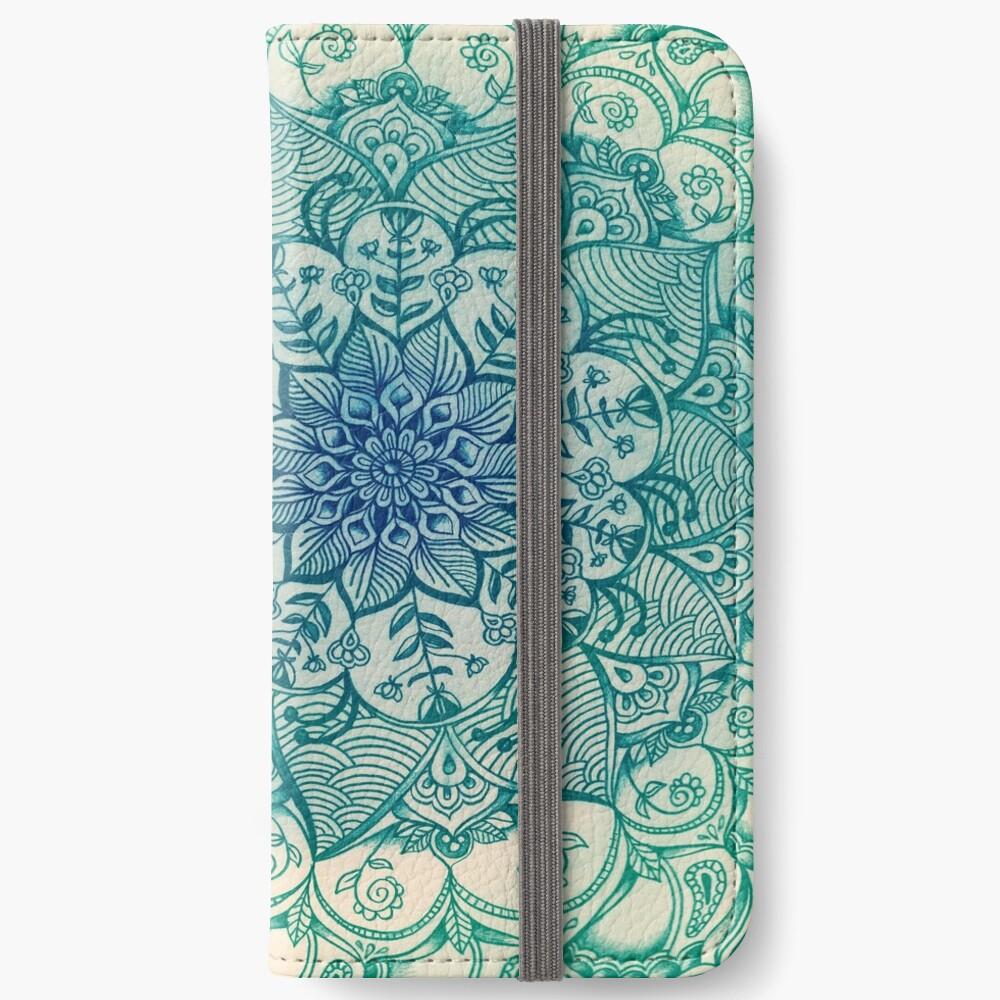 Smaragd-Gekritzel iPhone Flip-Case
