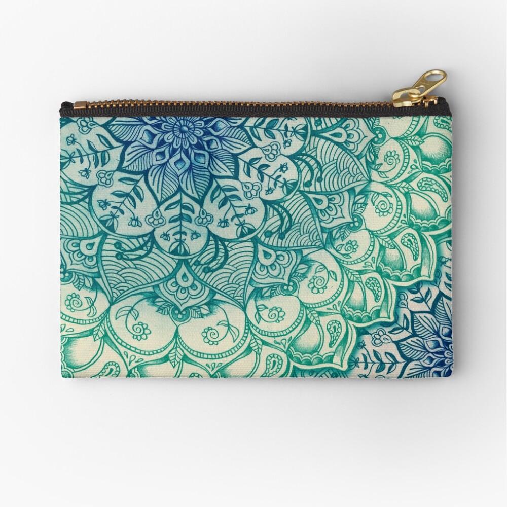 Emerald Doodle Zipper Pouch
