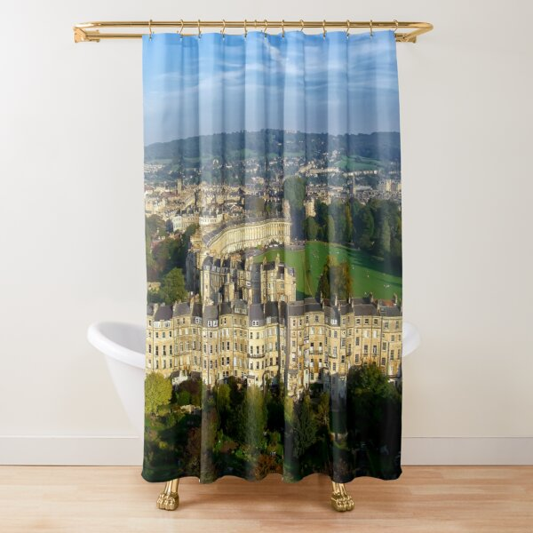 Marlborough Buildings - Aerial Image of Bath, Somerset, UK Shower Curtain