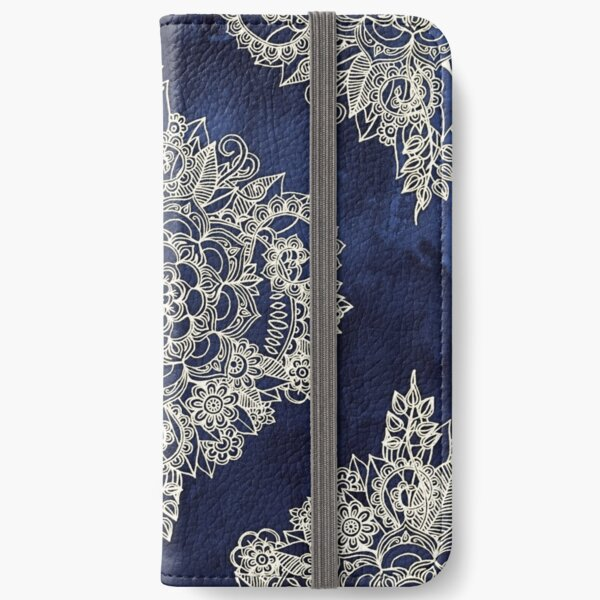 Cream Floral Moroccan Pattern on Deep Indigo Ink iPhone Wallet