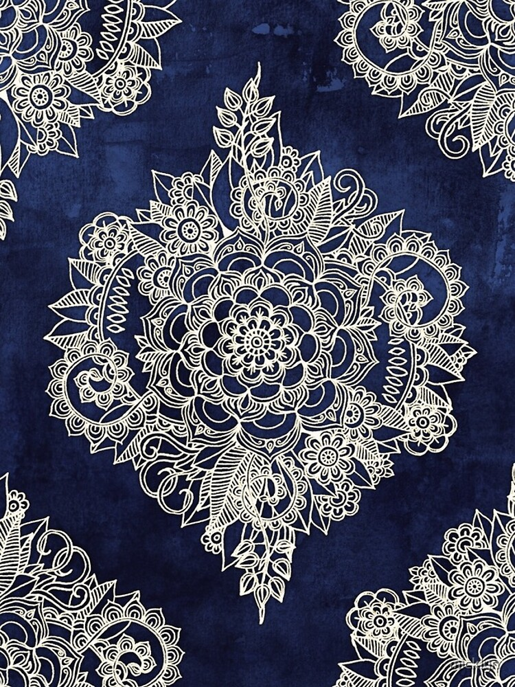 Cream Floral Moroccan Pattern on Deep Indigo Ink by micklyn