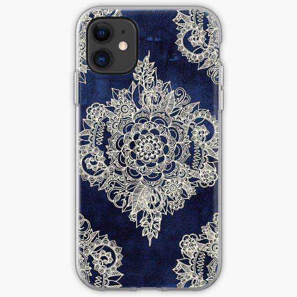 Cream Floral Moroccan Pattern on Deep Indigo Ink iPhone Soft Case