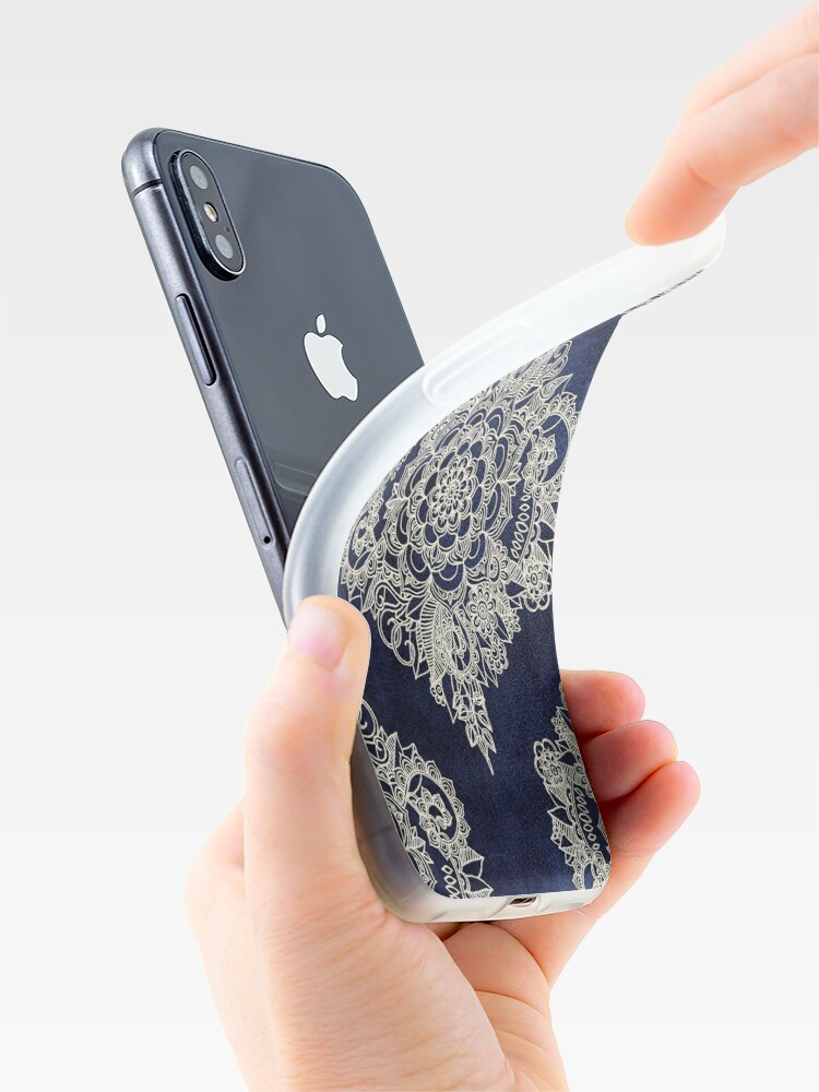 Alternate view of Cream Floral Moroccan Pattern on Deep Indigo Ink iPhone Case & Cover