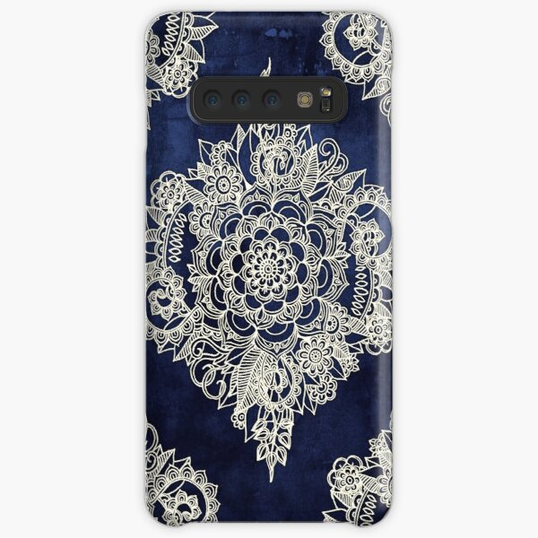 Cream Floral Moroccan Pattern on Deep Indigo Ink Samsung Galaxy Snap Case