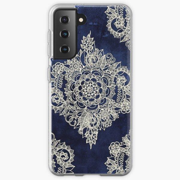 Cream Floral Moroccan Pattern on Deep Indigo Ink Samsung Galaxy Soft Case