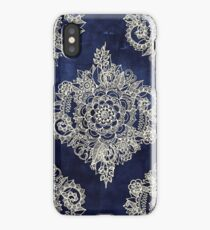 Cream Floral Moroccan Pattern on Deep Indigo Ink iPhone Case
