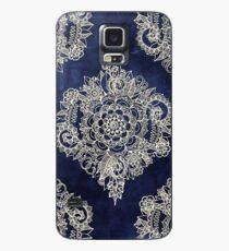 Cream Floral Moroccan Pattern on Deep Indigo Ink Case/Skin for Samsung Galaxy