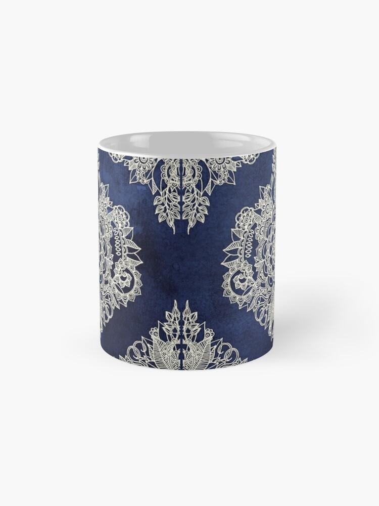 Alternate view of Cream Floral Moroccan Pattern on Deep Indigo Ink Mug