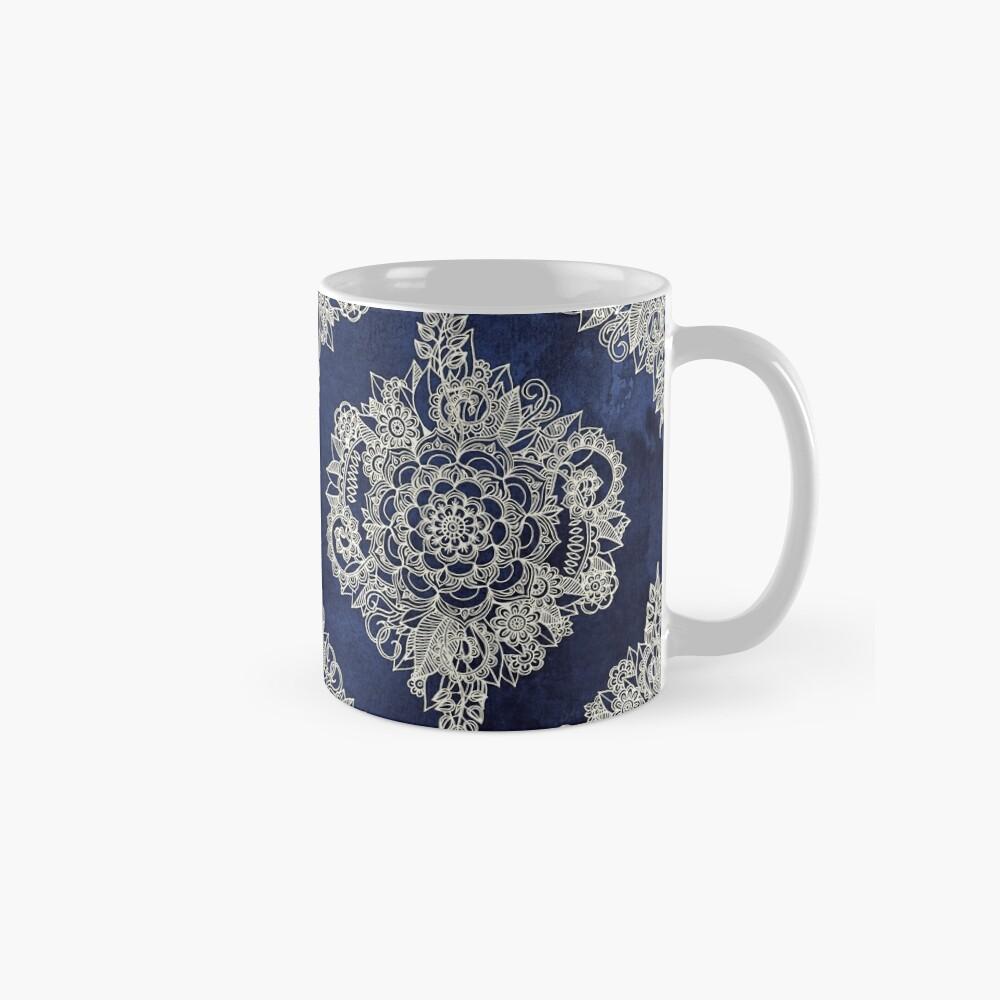 Cream Floral Moroccan Pattern on Deep Indigo Ink Mug