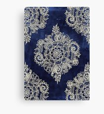 Cream Floral Moroccan Pattern on Deep Indigo Ink Canvas Print
