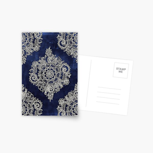 Cream Floral Moroccan Pattern on Deep Indigo Ink Postcard