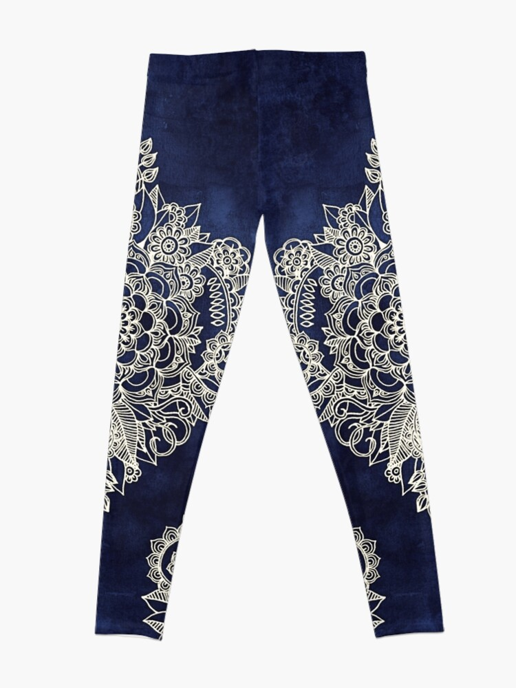Alternate view of Cream Floral Moroccan Pattern on Deep Indigo Ink Leggings
