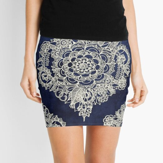 Cream Floral Moroccan Pattern on Deep Indigo Ink Mini Skirt