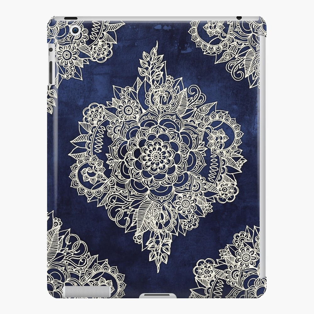 Cream Floral Moroccan Pattern on Deep Indigo Ink iPad Case & Skin