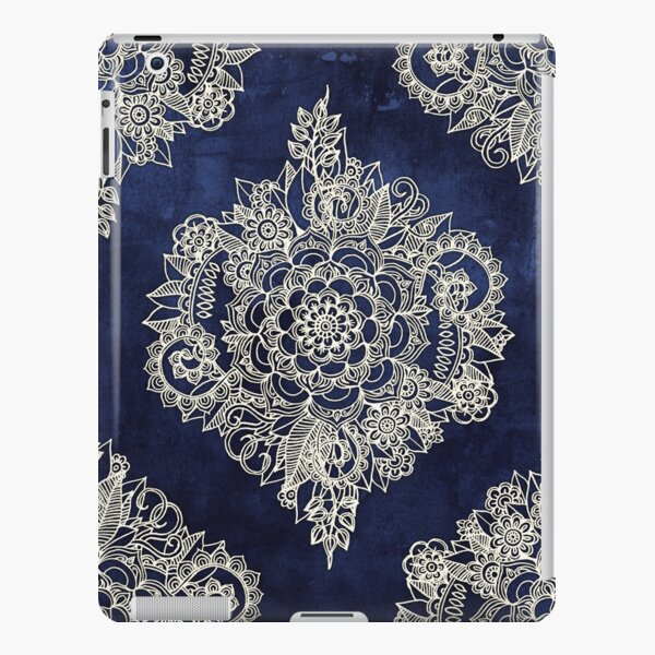 Cream Floral Moroccan Pattern on Deep Indigo Ink iPad Snap Case
