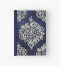 Cream Floral Moroccan Pattern on Deep Indigo Ink Hardcover Journal