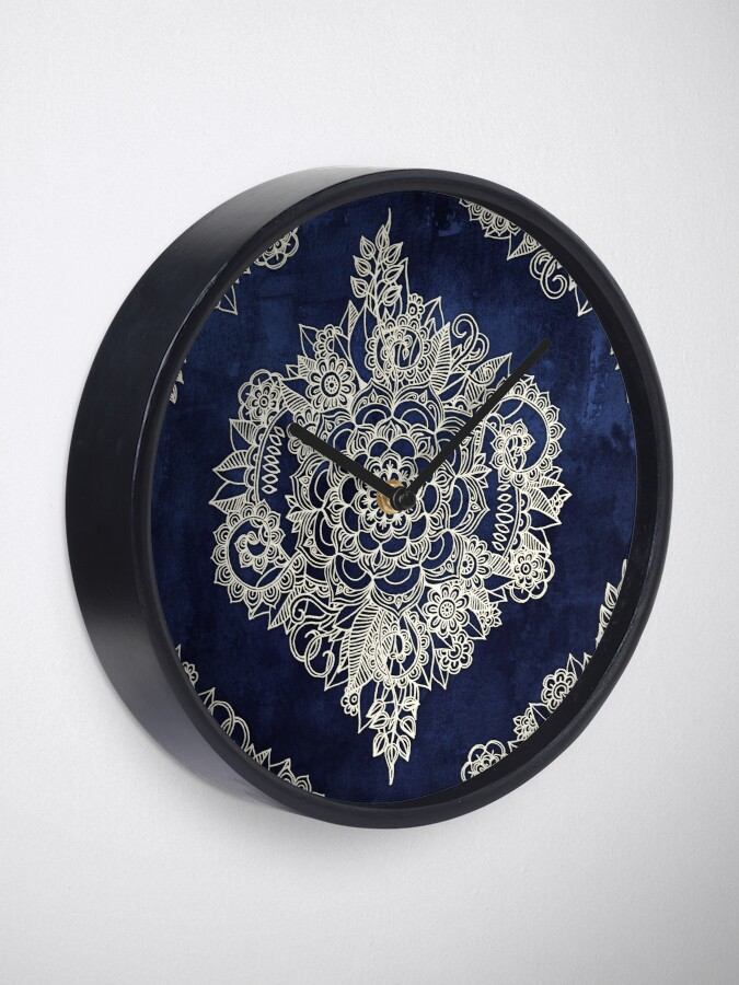 Alternate view of Cream Floral Moroccan Pattern on Deep Indigo Ink Clock