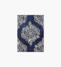 Cream Floral Moroccan Pattern on Deep Indigo Ink Art Board
