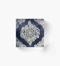 Cream Floral Moroccan Pattern on Deep Indigo Ink Acrylic Block