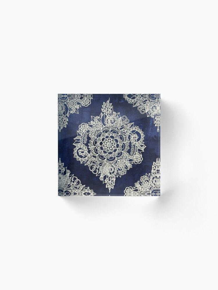 Alternate view of Cream Floral Moroccan Pattern on Deep Indigo Ink Acrylic Block