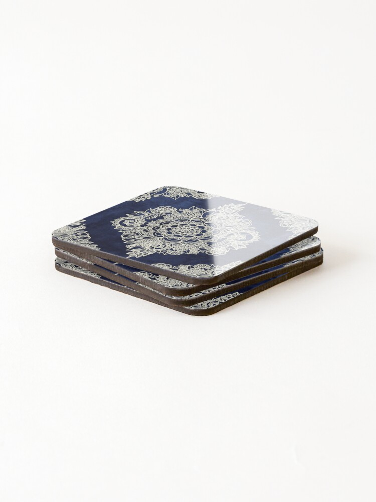 Alternate view of Cream Floral Moroccan Pattern on Deep Indigo Ink Coasters (Set of 4)