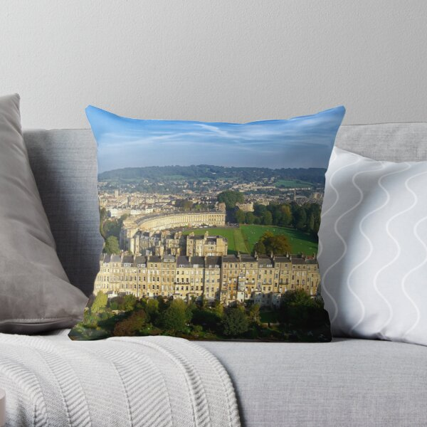 Marlborough Buildings - Aerial Image of Bath, Somerset, UK Throw Pillow