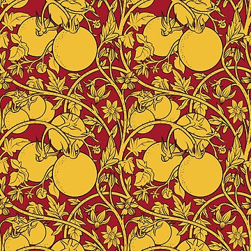 Seamless pattern of tomato branch in a garden. Yellow and red. by Nadiiaz