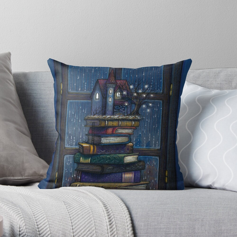 Books castle Throw Pillow