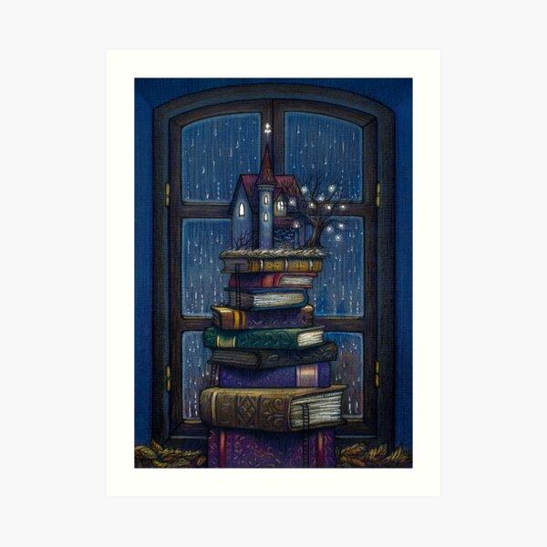 Books castle Art Print